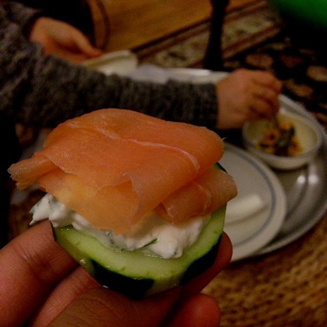 New Brunswick Lox on Dill Yogurt and Sliced Cucumber #lowcarbparty