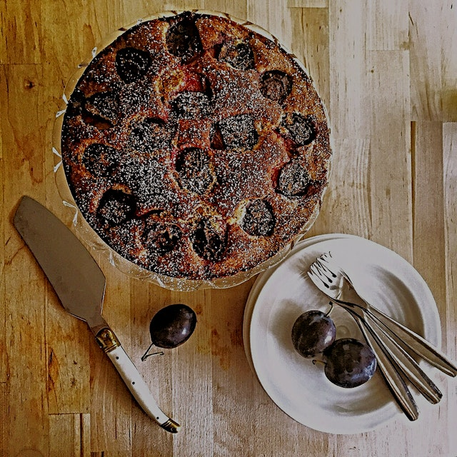 My toaster oven is like a big girl Easy Bake Oven ☺️ Plum Torte, courtesy of Genius Recipes cookb...