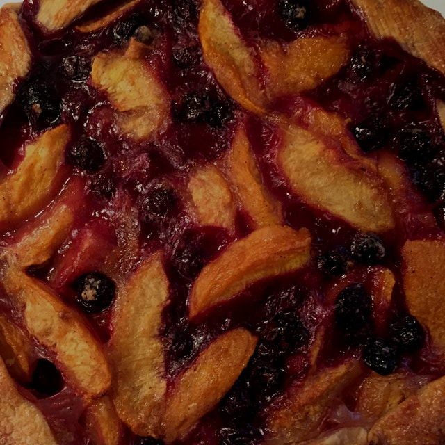 Peach and blueberry galette made from locally grown fruits from the Farmers' Market in Pleasantvi...