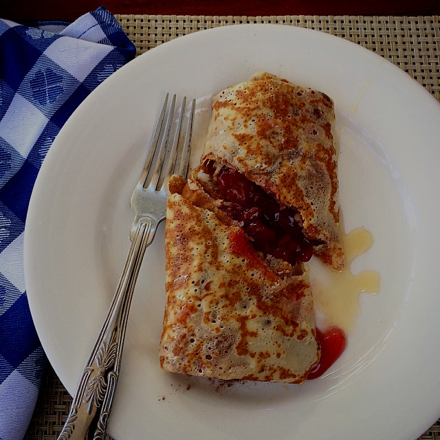 This crepe was amazing! With cherries and coconut, drizzled with honey & cinnamon!