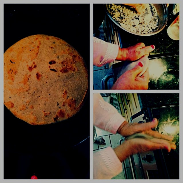 Learning how to make rotla - a wintertime fav. Ground millet, hand-tossed chapathi, served with g...