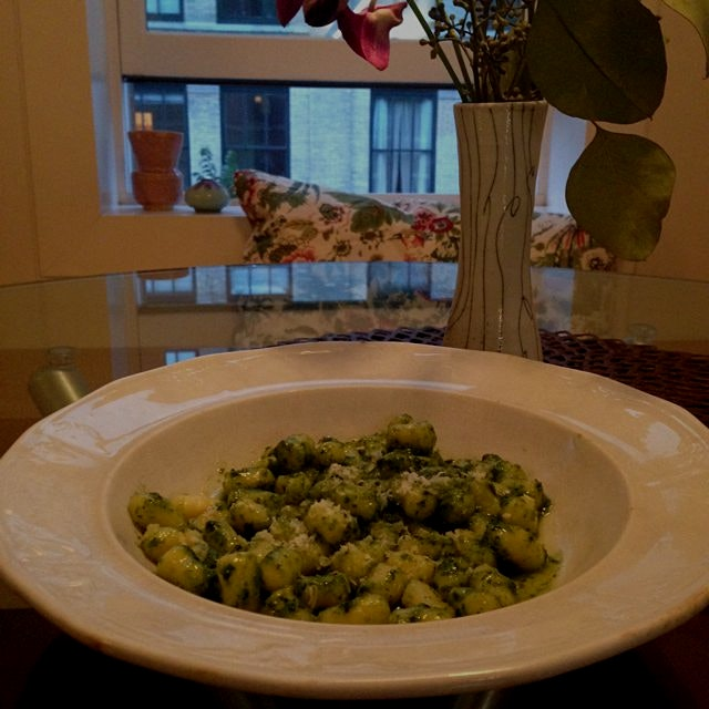 Simple gnocchi and pesto for a Saturday meal
