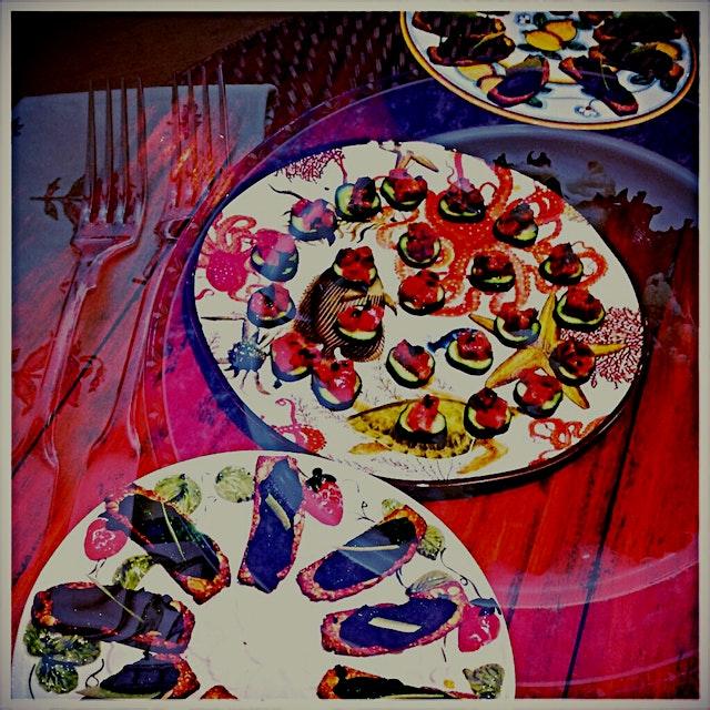 Just the starters - sweet pea & mint crostini, citrus tuna tarter over cucumber and seared pear &...