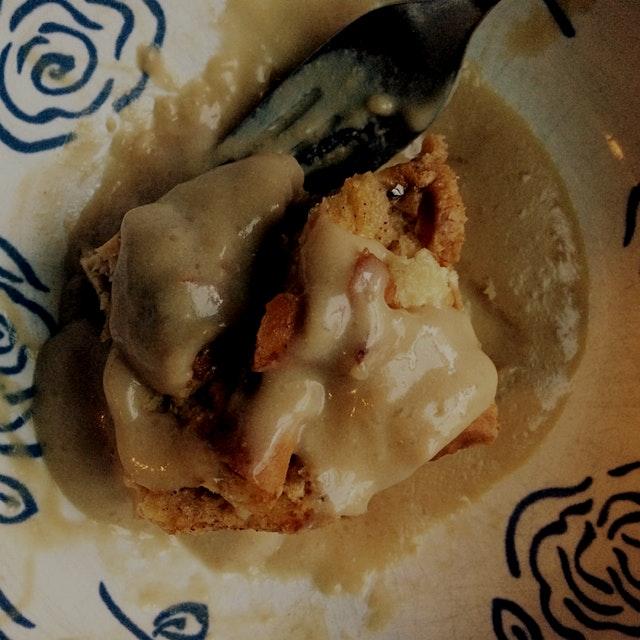 Hit Apple Bread Pudding with silky Vanilla Creme Sauce