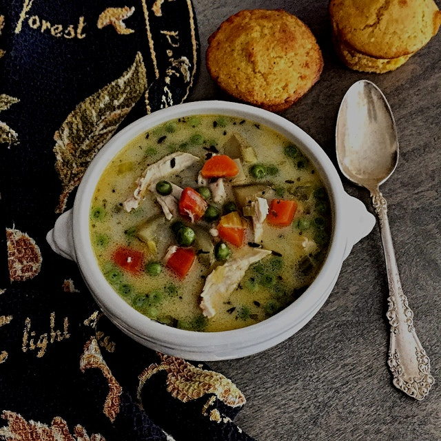 Soup Season has arrived! ☺️ Chicken Pot Pie soup. with cornbread for dunking.