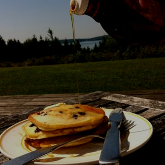 Pancakes with a view, please! Fresh farmstand blueberries don't hurt, either. #maine #vacation #n...