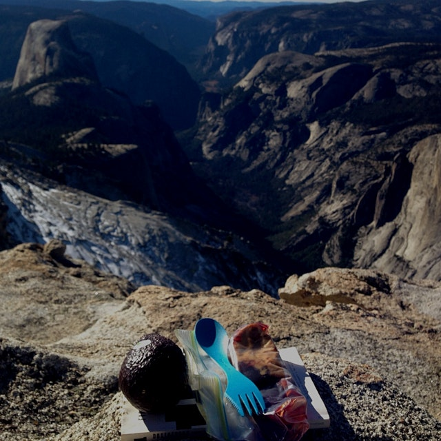 Throwback to a quiet Thanksgiving Dinner '14: looking down on Half Dome halfway through the perfe...