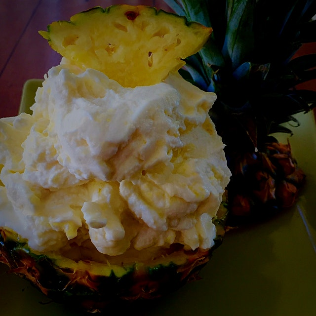 Picked up a couple if beautiful pineapples so I made ice cream! Very yummy!!!🍦🍦🍦