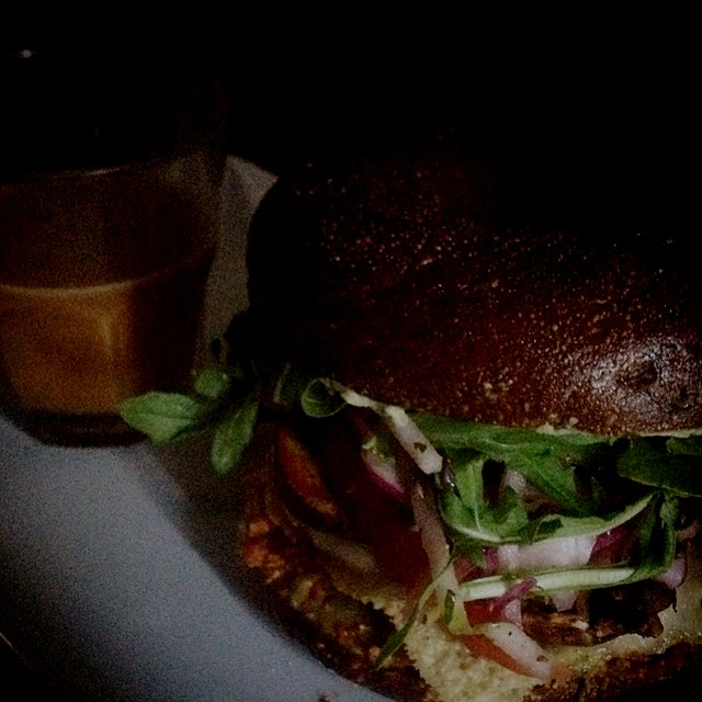 Swiss & mushroom chicken sandwich on pumpernickel.