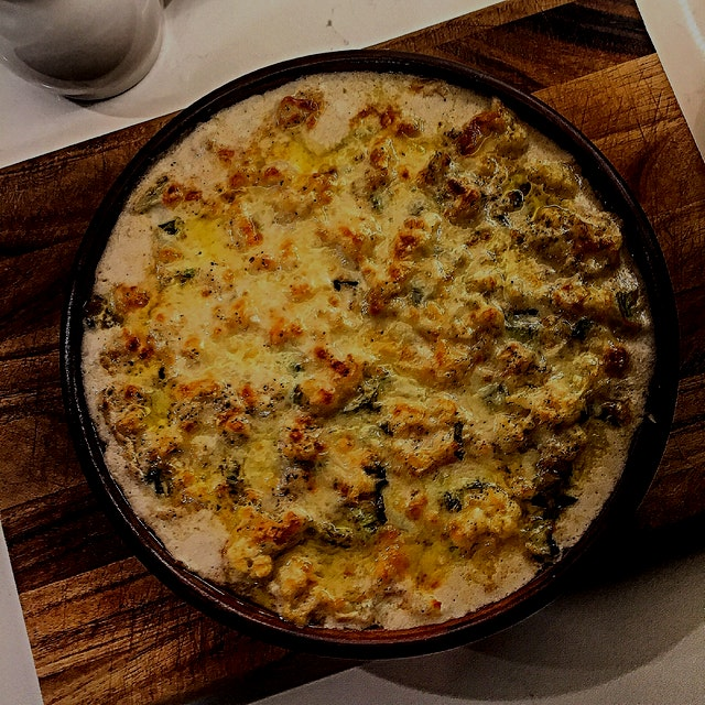 Greetings Meatless Monday. Pleased to meet you. Sincerely Cauliflower Gratin with sage and Gruyere.