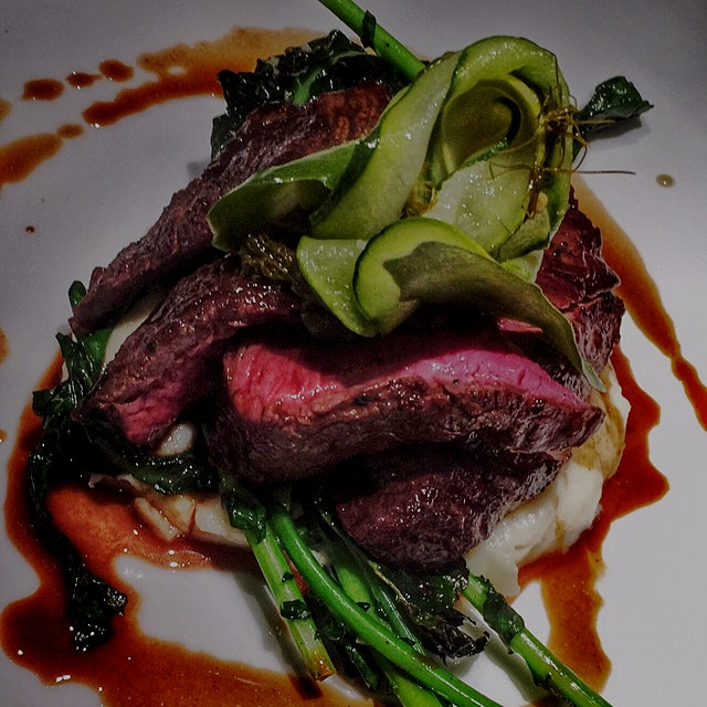 Hanger steak / rapini / pomme aligot / Pickles / Demi---  Pomme aligot - cheese curds stretched i...