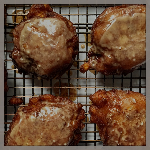 Glazed apple cider fritters