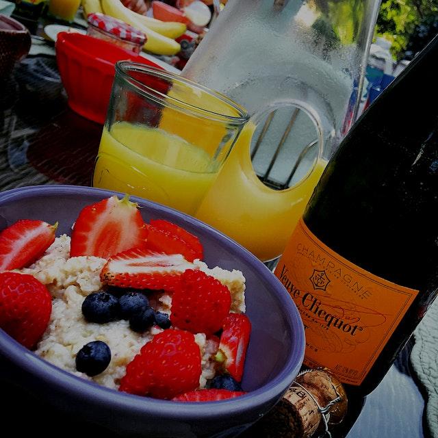 Oats, berries, & mimosa - a Carolina back porch breakfast. #tbt