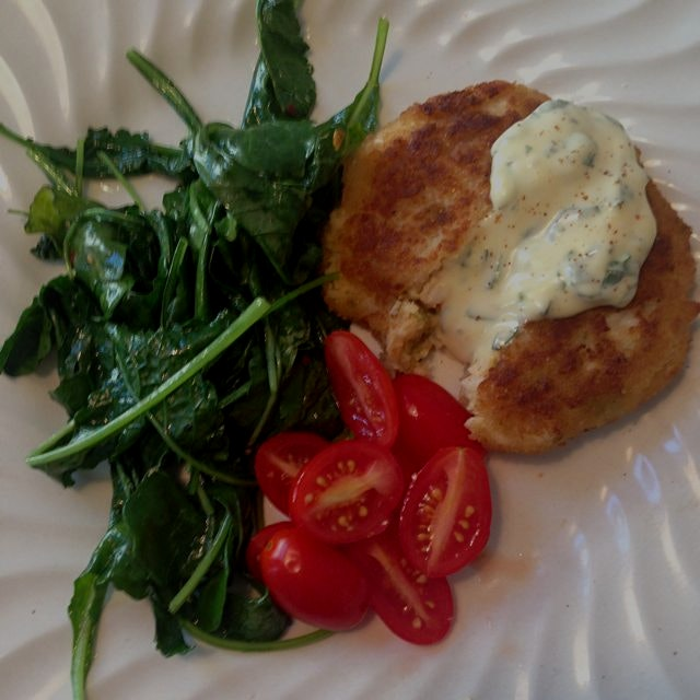 Farmers market crab cake with homemade basil mayo for a Saturday lunch