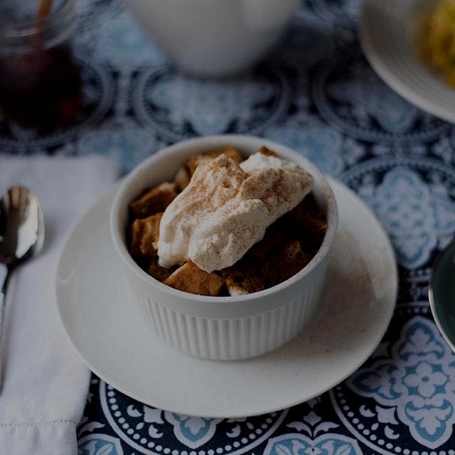 Pumpkin spice latte bread pudding for breakfast 🎃