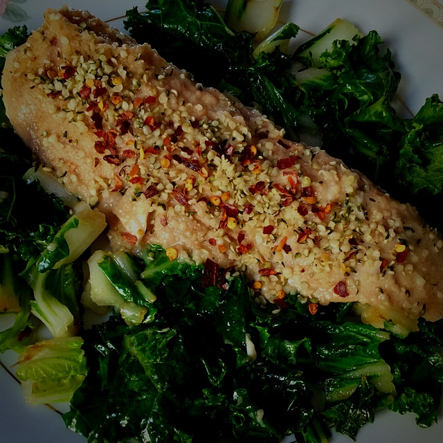 A quick and easy lunch does the body good. Sautéed Snapper over Bok Choy & Kale #GreenYoSelf
