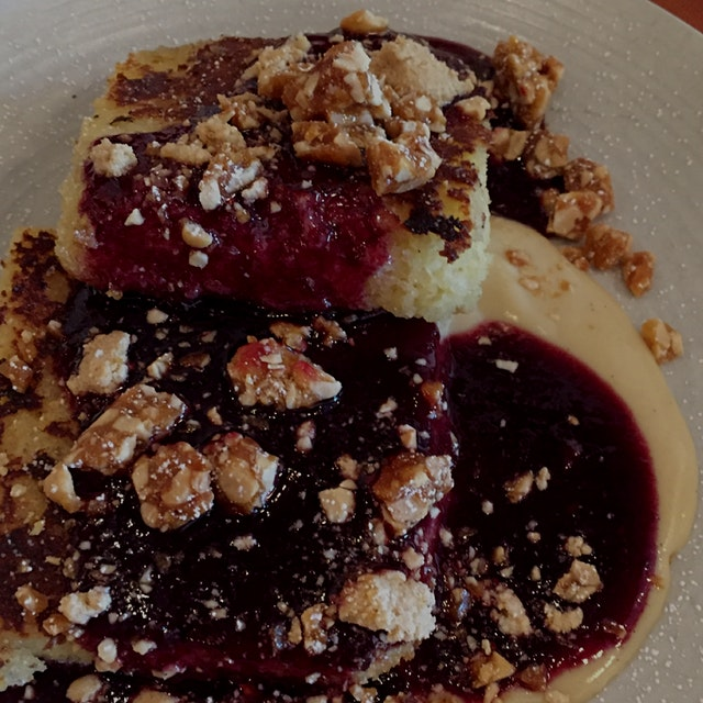 Quite possibly the best French toast I've ever had. PB&J Cornbread French Toast. Yum!