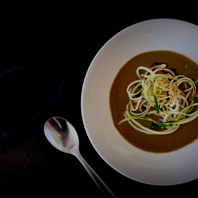 Spinach & Arugula Lentil Soup with Zoodles & Tamarind Chuntey! A comforting bowl of wonderful thi...
