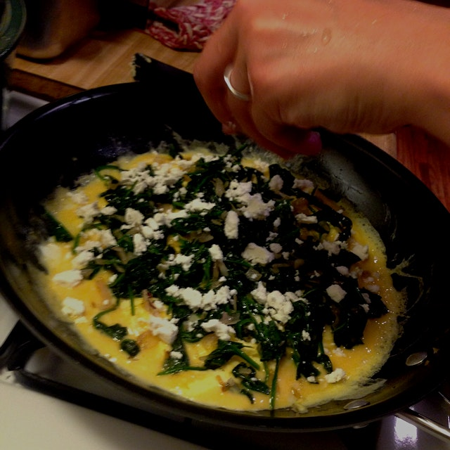 Omelette for dinner with sheep's milk feta from Commodities Market down the street