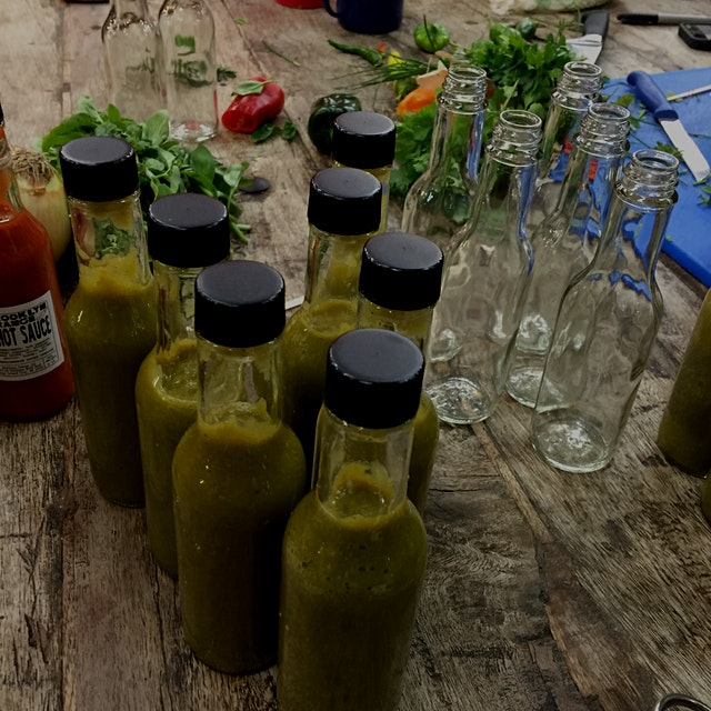The finished product from last night's Hot Sauce Workshop at the @brooklyngrange with @Rachna @su...