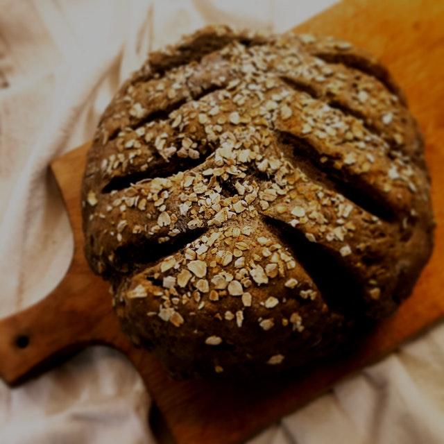 Dreary, rainy. Must bake. Experimenting. Buckwheat and Walnut Soda Bread.