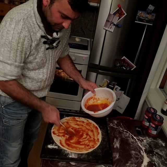 Refugees man preparing Purpledinner for local people #NoFoodWaste